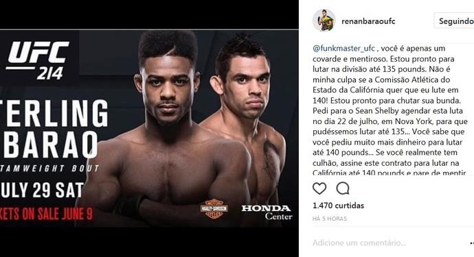 Renan Barão (Foto: reprodução/Instagram)