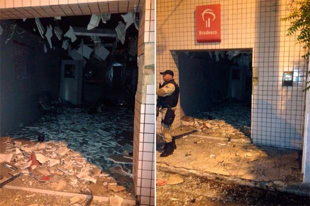 Agência ficou parcialmente destruída com o impacto da explosão (Foto: Divulgação/Polícia Militar do RN)