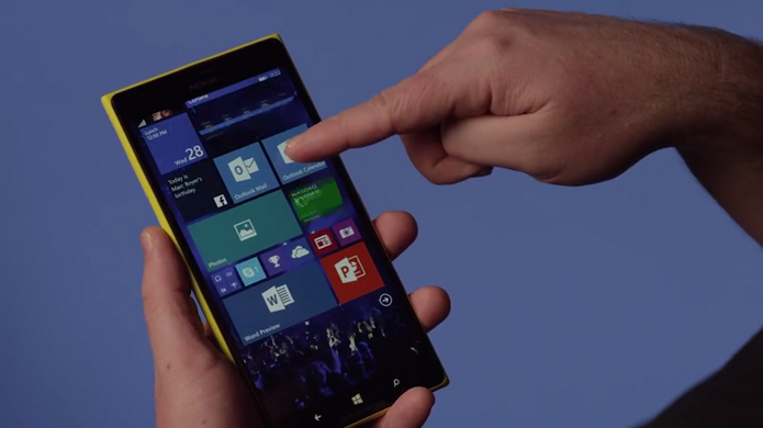 Windows 10 para smartphones traz tela inicial com plano de fundo (Foto: Reprodução/Microsoft)