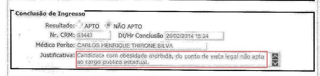 Exame afirma que Bruna não é apta a assumir o posto (Foto: Reprodução)