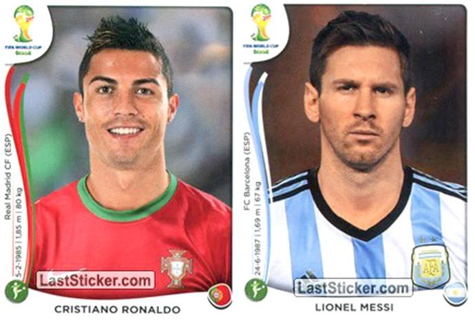 Figurinhas Messi e Cristiano Ronaldo Copa do Mundo