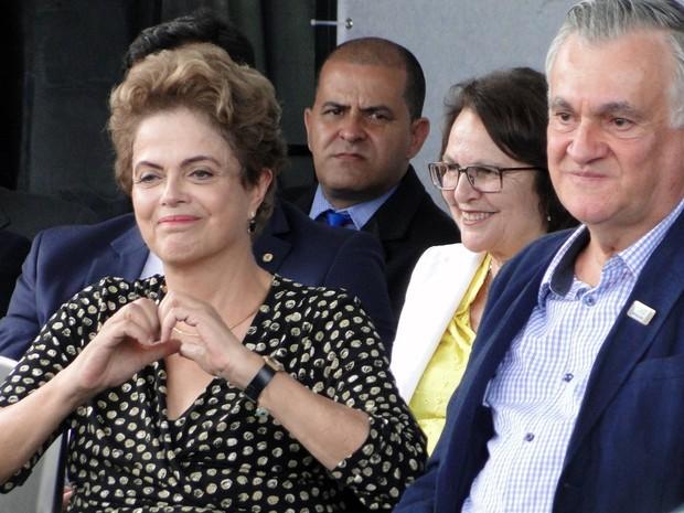 Presidente Dilma Rousseff e o ministro da Cultura, Juca Ferreira (Foto: Pedro Ângelo/G1)