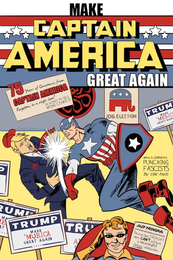 Uma paródia recente do primeiro número da revista do Capitão América, com Donald Trump no lugar de Hitler (Foto: Reprodução)