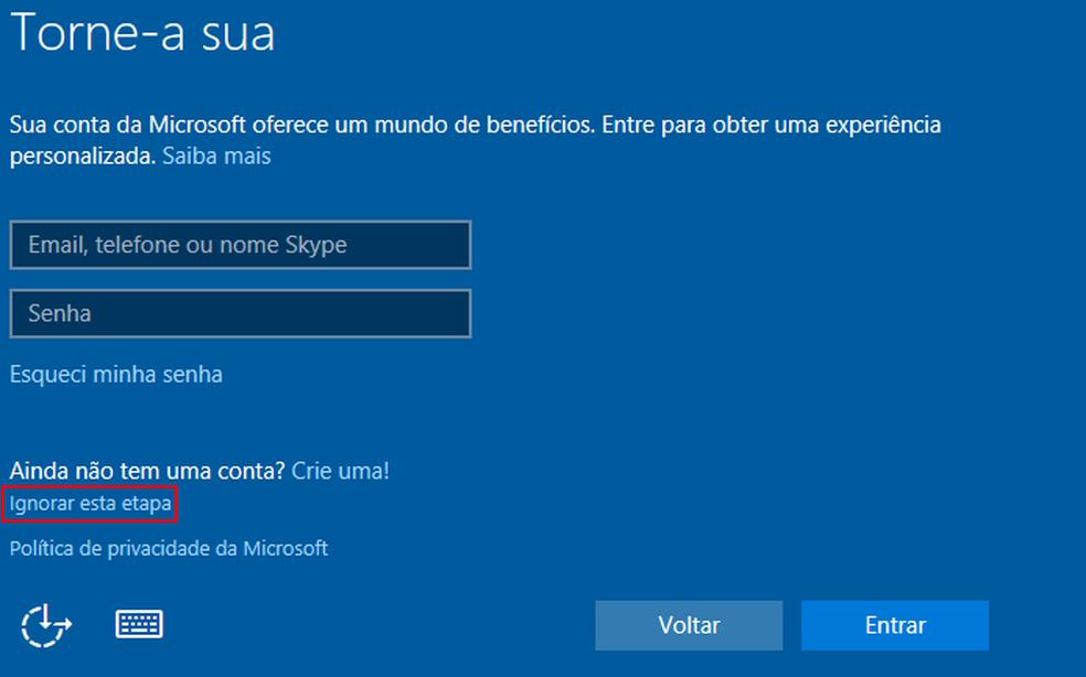 Ignorando a etapa que pede uma conta Microsoft para usar o Windows (Foto: Edivaldo Brito/TechTudo)