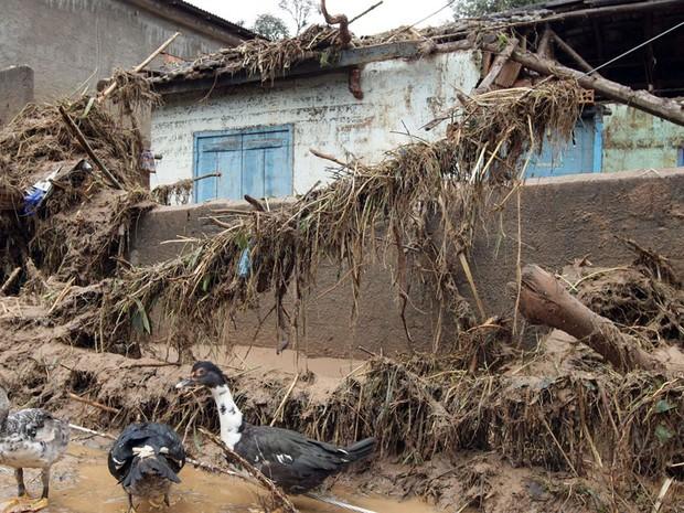 Estragos causados pelas chuvas no bairro Córrego Dantas, na cidade de Nova Friburgo, na região serrana do Rio de Janeiro, nesta sexta-feira. (Foto: Marcos de Paula/Agência Estado)