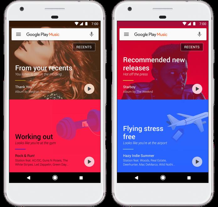 Google Play Music traz recomendações de músicas baseadas na localização geográfica do usuário (Foto: Divulgação/Google)