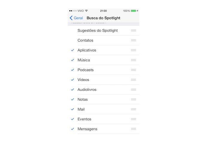 Definindo quais itens farão parte da busca do Spotlight no iOS (Foto: Reprodução/Marvin Costa)