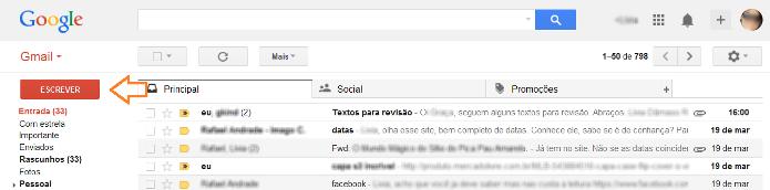 Atalho para escrever uma nova mensagem no Gmail (Foto: Reprodução/Lívia Dâmaso)
