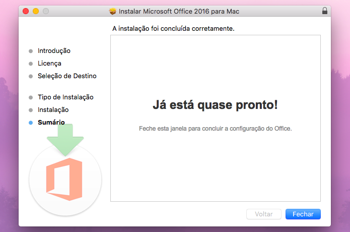Finalizando instalação do Office 2016 para Mac (Foto: Reprodução/Helito Bijora)