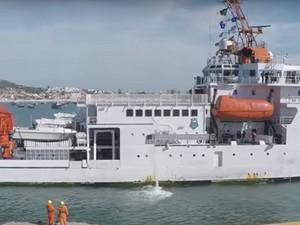 Navio-sonda Vital Inter ajuda na localização do piloto do caça da Marinha (Foto: Reprodução/Ministério da Ciência Tecnologia e Inovação)