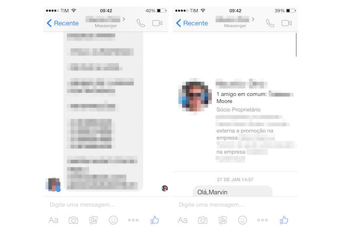 Verificando dados de um contato desconhecido no Facebook Messenger (Foto: Reprodução/Marvin Costa)