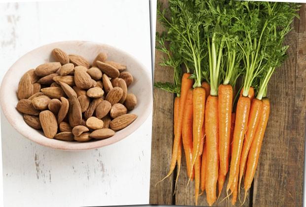 Cenouras e amêndoas também ajudam a reforçar o sistema imunológico (Foto: Thinkstock)