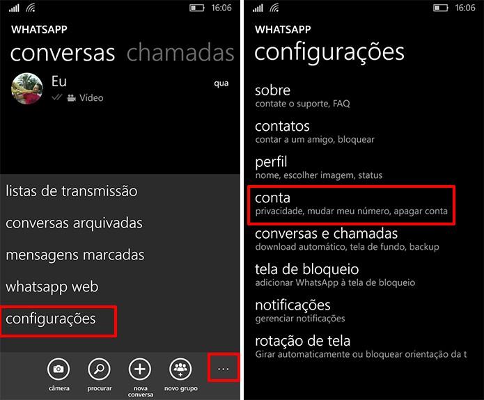 Usuário deve acessar configurações de conta para ativar verificação em duas etapas no WhatsApp (Foto: Reprodução/Elson de Souza)
