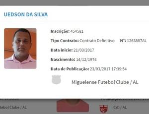Uedson da Silva Pililiu, BID (Foto: Reprodução/ CBF)