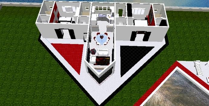 Projeto interior da casa no formato do escudo do São Paulo (Foto: Arquivo pessoal)