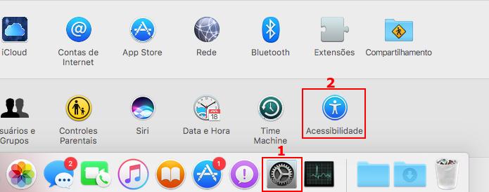 Acessando as configurações de Acessibilidade do macOS (Foto: Reprodução/Edivaldo Brito)