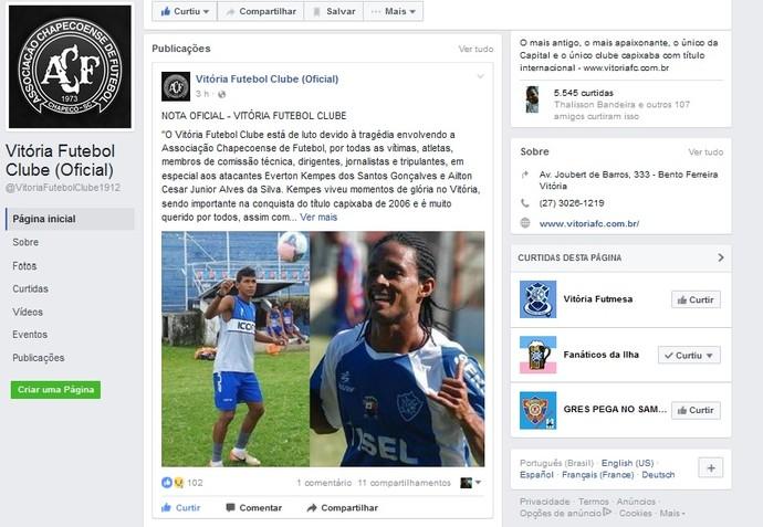 Nota oficial do Vitória Futebol Clube (Foto: Reprodução/Facebook)
