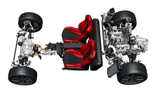 No NSX, 2 motores elétricos atendem às rodas dianteiras, e o terceiro fica na parte traseira, onde também está o motor a gasolina, V6, biturbo (Foto: Divulgação)