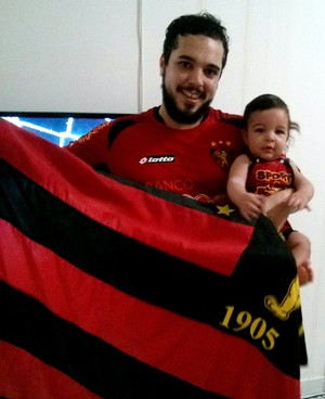 Thiago Leite e o filho, torcedores do Sport (Foto: Arquivo pessoal)