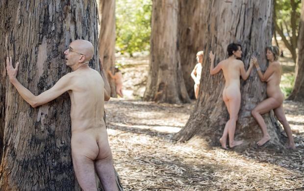 Ativistas protestam nus contra derrubada de árvores no campus de Berkeley da Universidade da Califórnia (Foto: Noah Berger/Reuters)