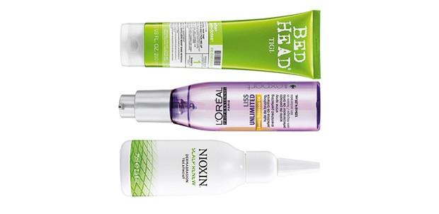 1. Shampoo Re-Energize, Bed Head, R$ 96 2. Shine Spray, L'Oréal Professionnel, R$ 120  3. Scalp Renew, Nioxin, R$ 88 (Foto: Divulgação)