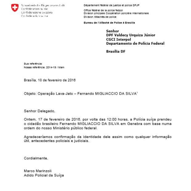 Documento suíço mostra a prisão do investigado pela Operação Lava Jato (Foto: Reprodução)