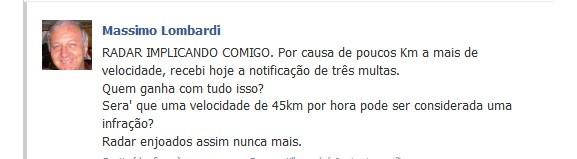 Padre Mássimo Lombardi reclama de radares em rede social (Foto: Reprodução Facebook)