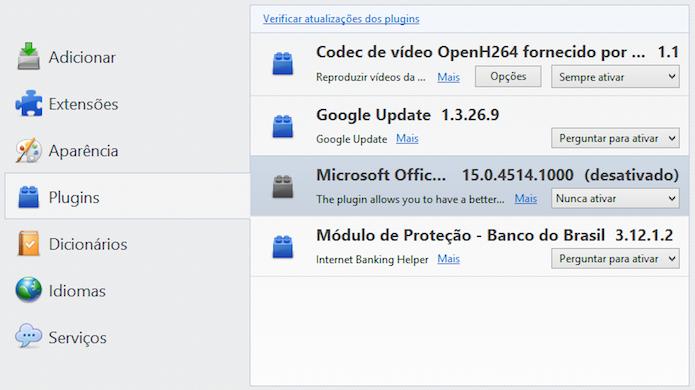 Desativando plugins do Firefox (Foto: Reprodução/Helito Bijora)