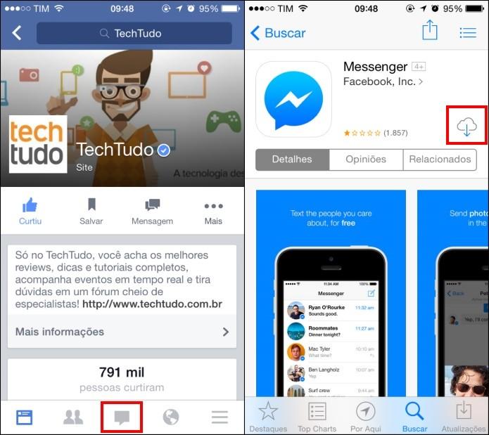 Abra o app do Facebook e toque sobre o ícone do chat (Foto: Reprodução/Helito Bijora)