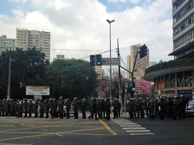 Polícia Militar (PM) acompanha passeata de professores da rede estadual em greve em SP (Foto: Roney Domingos/G1)
