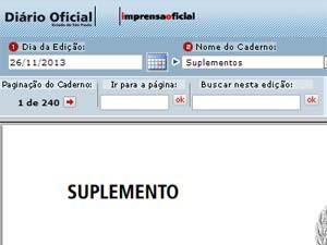 Diário Oficial tem campos para busca por página ou por palavra chave (Foto: Reprodução)