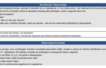 """Dirigente nega ameaça de morte a árbitro na Série D: """"Alguém inventou"""""""
