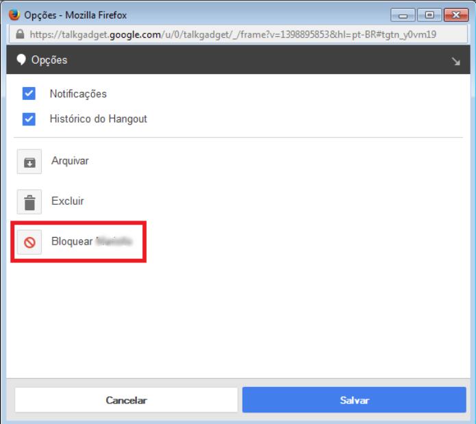 """Clique na opção """"Bloquear"""" para não ter mais acesso a este contato (Foto: Reprodução/Lívia Dâmaso)"""