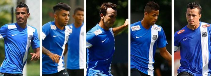 MONTAGEM - Cícero, Geuvânio, Gabigol, Thiago Ribeiro e Leandro Damião Santos (Foto: Divulgação / Site Oficial do Santos )