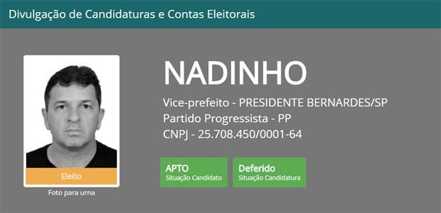 Reginaldo Luiz Ernesto Cardilo foi eleito vice-prefeito de Presidente Bernardes (Foto: Reprodução/Tribunal Superior Eleitoral)