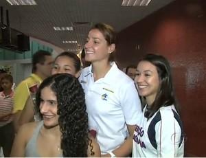 Duda, jogadora da seleção brasileira de handebol (Foto: reprodução/TV Gazeta)