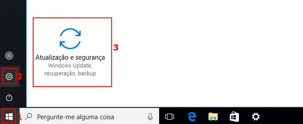 Acessando as atualizações do Windows 10 (Foto: Edivaldo Brito/TechTudo)