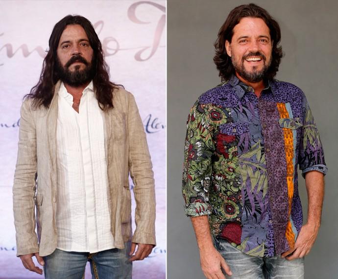 Felipe Camargo deu adeus aos fios longos e à barba volumosa (Foto: Inácio Moraes/Fábio Rocha/Gshow)