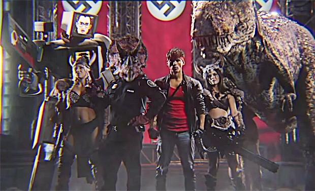 O time de protagonistas do curta 'Kung Fury', liderado pelo ator e diretor David Samberg (de vermelho) (Foto: Reprodução/Youtube)