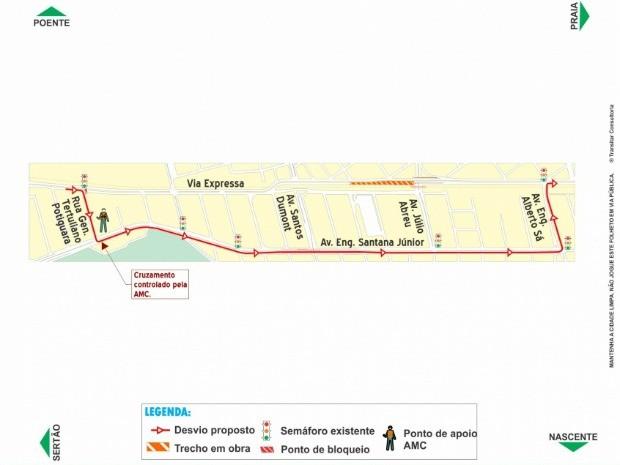 Opção de desvio na Via Expressa (Foto: Prefeitura de Fortaleza/ Divulgação)