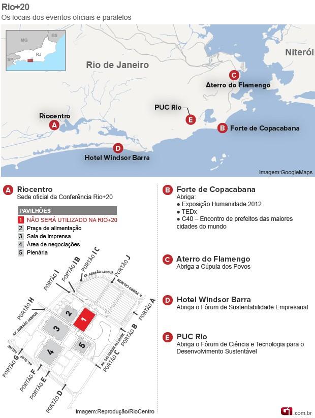 mapa eventos rio+20 (Foto: G1)