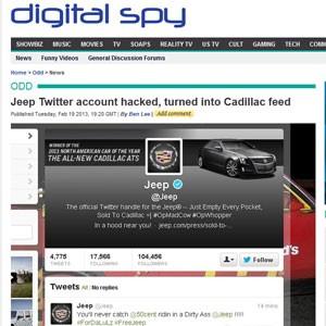 Hackers trocaram a descrição e as fotos da conta do Jeep para Cadillac (Foto: Reprodução)