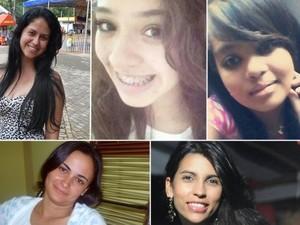 Bruna, Ana Lídia, Taynara, Rosirene e Juliana são algumas das vítimas do suposto serial killer em Goiânia, Goiás (Foto: Arquivo Pessoal)