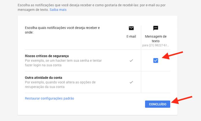 Ativando o recebimento de mensagens SMS quando houver tentativa de invasão a uma conta do Gmail (Foto: Reprodução/Marvin Costa)