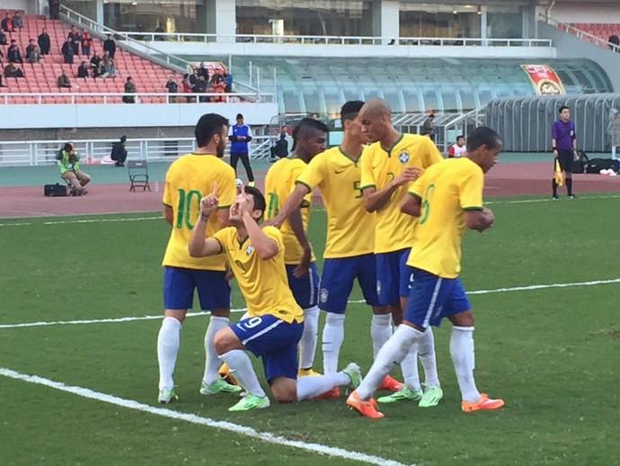 Comemoração de gol da seleção sub-21 contra a Austrália na China (Foto  c595accdb8b2e