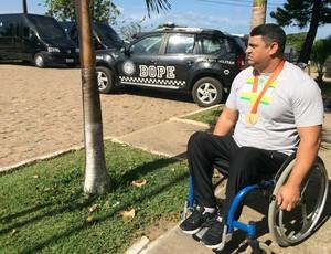Joseano Felipe - atleta paralímpico - medalha de ouro halterofilismo - Parapan Toronto 2015 (Foto: Carlos Cruz/GloboEsporte.com)
