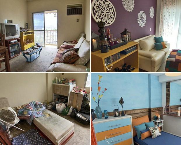 Veja o antes e depois do quarto e da sala da Carla (Foto: Mais Você / TV Globo)
