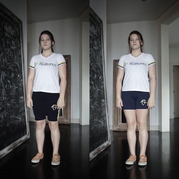 Julia O'Keefe mostra os diferentes comprimentos do short: como ele é vendido (esq.) e como ela gostaria de adaptá-lo, para seu conforto (dir.) (Foto: Caio Kenji/G1)