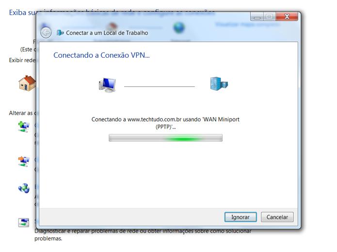 Depois de seguir os passos, você verá a tela que informa o processo de conexão com a VPN (Foto: Reprodução/Filipe Garrett)
