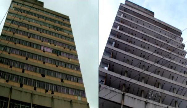 Prédio do Governo Federal antes e depois de ser depenado por vândalos  (Foto: Reprodução/ Rede Globo)